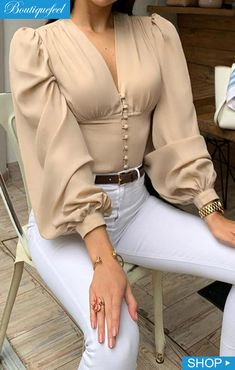 V-Neck Solid Lantern Sleeve Casual Blouse - Shein - Women's fashion interests 40s Fashion, Look Fashion, Fashion Dresses, Womens Fashion, Fashion Blouses, Fashion Hats, Women's Dresses, Fashion Ideas, Fashion Trends