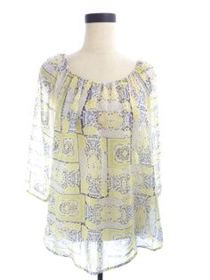 WomensNEW Daisy Fuentes Yellow & Blue Floral Print Chiffon Sheer Blouse Sz M Top #DaisyFuentes #Blouse #Casual