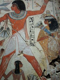 Ancient Egyptian Tomb Art    detail, Nebamun hunting in the marshes, showing Nebamun, his wife Hatshepsut and their young daughter, painting from the tomb-chapel of Nebamun, accountant in the Temple of Amun (Karnak), circa 1350 BC, Ancient Egypt, panel in the British Museum, London WC1.