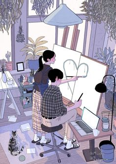 Korean painting makes everyone want a person to & each other, love each other peacefully& Couple Drawings Tumblr, Anime Couples Drawings, Cute Drawings, Cute Couple Art, Anime Love Couple, Couple Cartoon, Illustration Art Drawing, Couple Illustration, Drawing Art