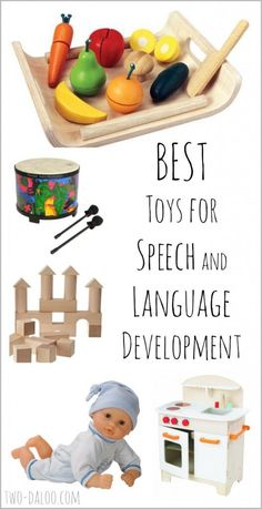A list of the best toys for stimulating speech and language development in early talkers written by a veteran speech-language pathologist AND mother of toddler twins.