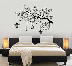Wall Decal Branch Tree Moon Lantern For Bedroom Vinyl Sticker Mural Art