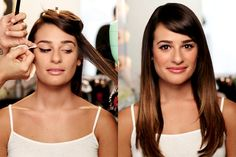 """How to Get Lea Michele's 5 Signature Beauty Looks // """"While looking in the mirror, angle your face up before applying liquid liner, then stretch your lid to the side so it's smooth and taut. Start halfway across the lash line, applying light pressure and increasing in thickness as you move to the outer corner of the eye. Then, look straight into the mirror and create your flick, connecting the wing to the rest of the liner."""""""
