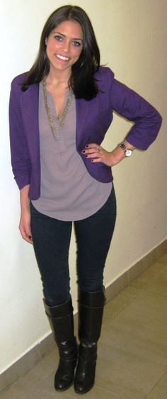 "MID-WEEK CHIC:  Pretty in purple (AND rocking the pantone color of the year)! ""You can find me in boots from September through March – I have an obsession! I love pairing them with jeans and a blazer for a business causal look."" ~Liana M."