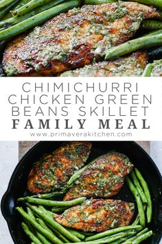 I cannot express with words how much my family and I loved this Chimichurri Chicken Green Beans Skillet. It's far from boring and this sauce is just heaven. Great dish for weeknight dinners! Bean Recipes, Paleo Recipes, Dinner Recipes, Chicken Meal Prep, Chicken Recipes, Chimichurri Chicken, Taco Meal, Chicken Green Beans, Healthy Meal Prep