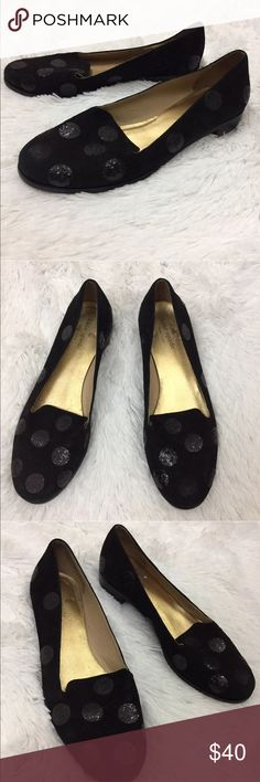 Kate Spade sparkly polka for loafers Sz 7 flawed These Kate Spade Sparkly Polka Dot Loafers are so cute! They are as-is and do have a couple minor flaws. These Kate Spade loafers have one missing and several loose sparkly dots. The one missing is in the front as shown in the images. They have otherwise light overall wear and no rips tears or stains, just the missing dot/loosening ones. Could fix some with glue. These were the store display pair as seen by the remnant of the sticker on…