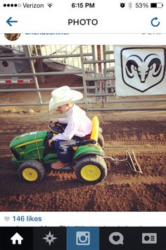 Awww! Every week this little boy helps drag the arena!