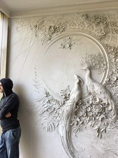 White peacock wall design