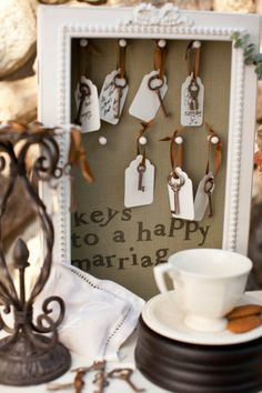Keys to a happy marriage. i love antique keys- this is an awesome ides for older couples to leave advice at the wedding.... or absurd comments :)