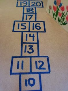 Learn your numbers hopscotch - can be used for learning to count by 5s, 10s, or to explore the teens
