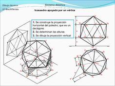 Dibujo técnico  Sistema diédrico  2.º Bachillerato  Icosaedro apoyado por un vértice  1. Se construye la proyección horizo...