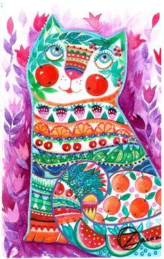 chat - Peinture,  27x18 cm ©2014 par Oxana Zaika -              chat, cat, katze