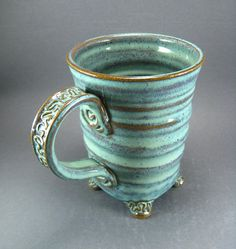 Textured Feet Mug with Squared Details in Green by TheMudPlace, $30.00