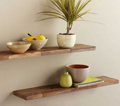 "Viva Terra Acacia Wall Shelves $85 for 2. (30"" L x 6"" D)"