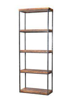 Railwood Reclaimed Wood Bookshelf with Black Finish