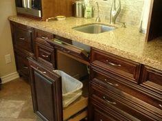 Bar sink with trash, great idea