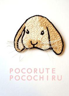 Sauce ear embroidery rabbit brooch (white tea)
