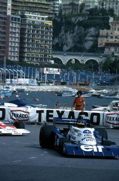 "legendsofracing: ""Ronnie Peterson (Tyrrell P34B) leads Jochen Mass (McLaren M23) around La Rascasse during the Monaco Grand Prix in 1977. """
