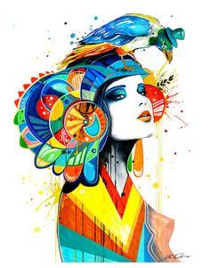 Lámina El Azteca por PixieColdArt en Etsy