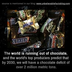 the world is running out of chocolate, and the world's top producers predict that by 2030, we will have a chocolate deficit of over 2 million…