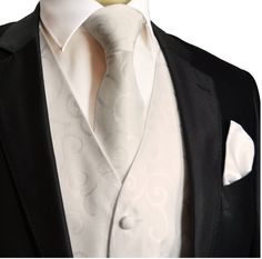 Paul Malone Wedding Vest Set White 5pcs Tuxedo Vest + Necktie + Ascot + Hanky + 2 Cufflinks M