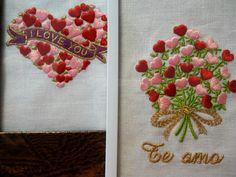 Detalles especiales para el 14 de febrero. Cuadritos bordados con rosas y mensaje personalizado