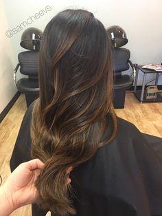 Brown warm caramel honey chocolate balayage highlights for dark hair types // Asian Latina Indian black thick hair with natural brown color