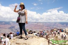Mather Point is the perfect background for the perfect Grand Canyon photo. Link: https://paradisefoundtours.com/grand-canyon-south-rim/bus/