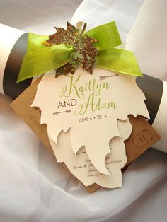 Growing in Love Hand Cut Maple and Oak Leaf Wedding Invitation Set - Sample by envymarketing on Etsy
