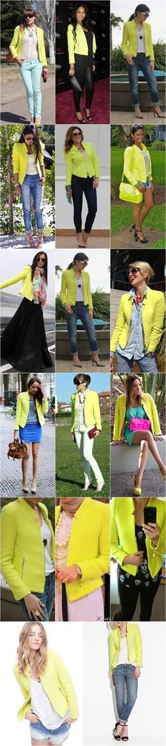 How to rock a neon blazer... I'm drawn to the color but I'm not sure if It's something I'd wear.