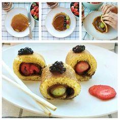 Yum pancake fruit wraps
