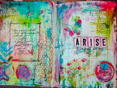 "artjournaling: "" Arise (by Makita Studio) "" Art Journal Prompts, Art Journal Techniques, Art Journal Pages, Art Journaling, Journal Ideas, Creative Journal, Creative Art, Moleskine, Mixed Media Journal"