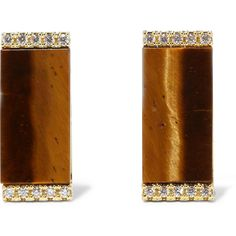 Kevia Gold-plated tiger's eye and pavé cubic zirconia earrings ($65) ❤ liked on Polyvore featuring jewelry, earrings, brown, zirconia earrings, cz earrings, gold plated earrings, kevia and gold plated jewellery