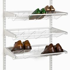 The Container Store > White elfa Gliding Shoe Shelf (for flats) . The Container Store > White elfa Gliding Shoe Shelf (for flats) Garage Shoe Storage, Bench With Shoe Storage, Closet Storage, Storage Bins, Bedroom Storage, Storage Ideas, Garage Organization, Organization Ideas, Elfa Shelving