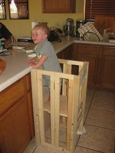 """Great Stool! No falling...in her other pictures you can see there is a """"door"""" for him to climb up and in by himself and a chalkboard for him to write on. I love this!"""