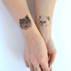 chat tattoo tatouage temporaire - ONE-1 seul faux chat tatt - 7designs au choix - tatouage réaliste - mélanger et assortir - cattoos