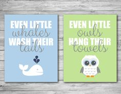 Wall Art Print Whale Owl Bathroom Child Baby Kid Prints Wash Tail Hang Towel Decor Blue Green 8 X 10