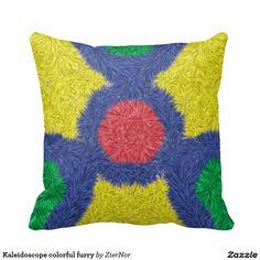 Kaleidoscope colorful furry throw pillows