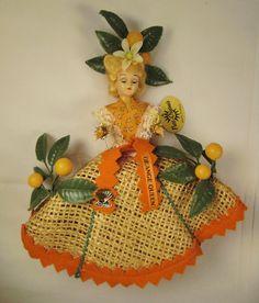"How wonderful!  A vintage Florida ""Orange Queen"" doll souvenir."