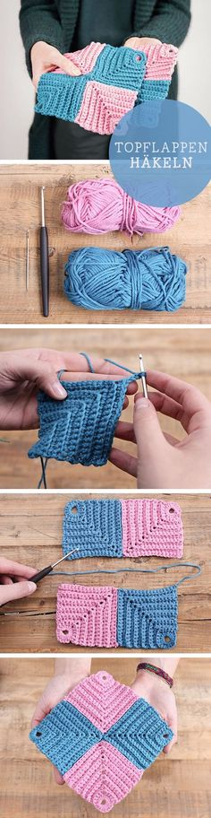 DIY-Anleitung für selbstgemachte Topflappen, retro / diy tutorial for handmade, crocheted pot holders, vintage crafting via DaWanda.com