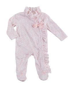 Mud Pie Holiday Pretty In Pink Baby Girl Pink Ruffle Kimono Sleeper 1132208 (6-9 Months). Minky kimono style sleeper features custom damask print and ruffles at side closure. Available in size 0-3 Months, 3-6 Months, and 6-9 Months. Each sold separately. Makes a perfect baby shower gift. Part of Mud Pie's Pretty in Pink Collection.