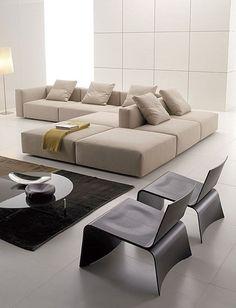 Finest contemporary living room interior design made easy Living Room Sofa, Interior Design Living Room, Living Room Designs, Sofa Design, Modul Sofa, Contemporary Bedroom, Contemporary Architecture, Modern Contemporary, Contemporary Building