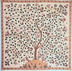 Tree of Life quilt from the Winterthur Museum, decorated with conventional applique and Broderie Perse (applique in which an image is cut from a piece of fabric and stitched to a background).
