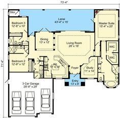 Open Concept Mediterranean House Plan - 64304BT | 1st Floor Master Suite, Butler Walk-in Pantry, CAD Available, Den-Office-Library-Study, Florida, Mediterranean, PDF, Photo Gallery, Split Bedrooms | Architectural Designs