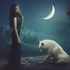 Wolves And Women, Wolf Moon, Pretty Wallpapers, Polar Bear, Gothic, Fantasy, Night, Animals, Etchings