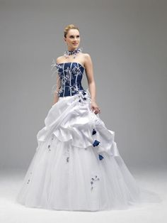 Annie Couture 2016 Royal Blue And White Wedding Dresses 8514 Strapless Feather A Line Corset Bridal Gowns Brush Train Sleeveless Ruffled Debenhams Dresses Lace Wedding Dress From Faithfully, $180.91| Dhgate.Com