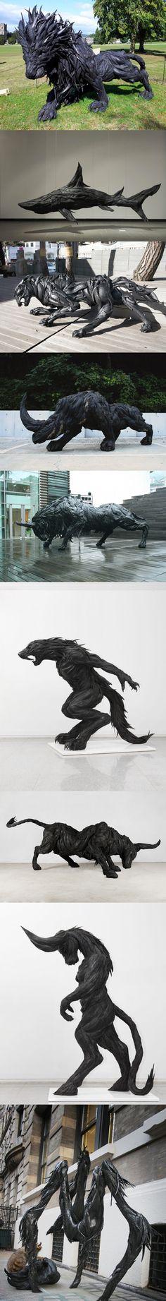 Magnifiques sculptures avec des pneus usagés