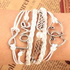 Love wings angel teen girl white bracelet