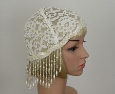 Just listed in my Etsy Store. Juliet Cap Ivory Vintage Trim Lace and Fringe by oldintonewcouture, $90.00