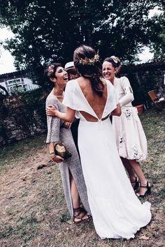 Bride in Customised Reformation Wedding Dress   Rustic Outdoor Spanish Destination Wedding   Miu Miu Bridal Shoes   Holly & Molly Headpiece   Bang Bang You   http://www.rockmywedding.co.uk/elena-antonio/
